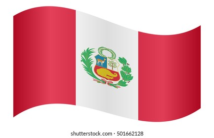 Peruvian national official flag. Patriotic symbol, banner, element, background. Correct colors. Flag of Peru waving on white background, vector illustration