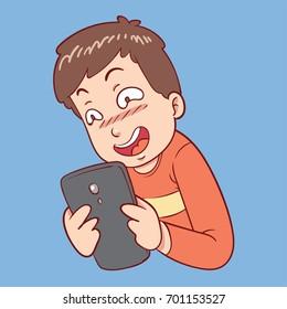 Pervert man looking at phone