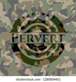 Pervert on camouflage texture