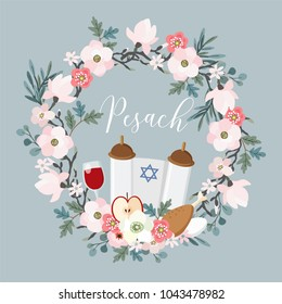 Pesach, Passover greeting card. Hand drawn floral wreath with torah, Jewish star, egg, apple, glass of wine, olive branches and flowers. Vector illustration background.
