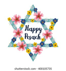 Pesach Passover greeting card with jewish star and hand drawn flowers, vector illustration background