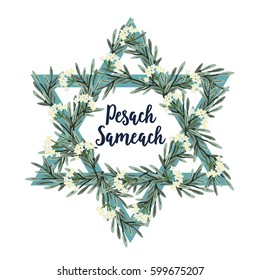 Pesach Passover greeting card with Jewish star, hand drawn olive branches and flowers. Vector illustration background.