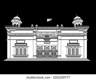 Peshawar Museum , Peshawar Pakistan in black  background in white  fill with black outlines