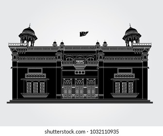 Peshawar Museum Peshawar Pakistan in white background in black fill with white outlines