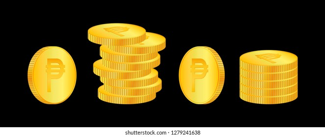 Peso. 3D isometric Physical coins. Currency. Golden coins with Peso symbol isolated on black background. Vector illustration.   Philippines - Vector. PHP.