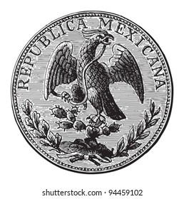 Peso Mexico (piastre) / vintage illustration from Meyers Konversations-Lexikon 1897