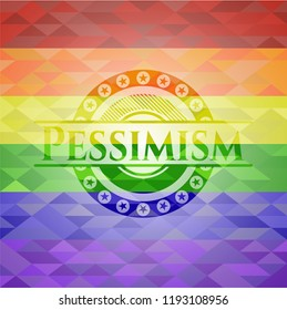 Pessimism on mosaic background with the colors of the LGBT flag