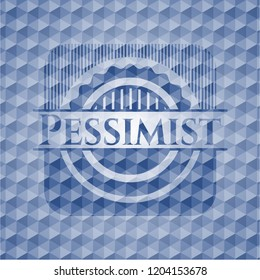 Pessimist blue emblem or badge with abstract geometric polygonal pattern background.