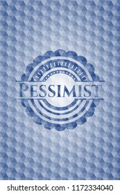Pessimist blue emblem with geometric pattern background.
