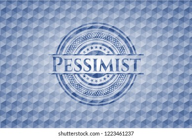 Pessimist blue hexagon badge.