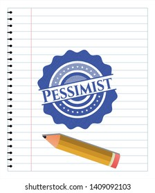 Pessimist emblem draw with pen effect. Blue ink. Vector Illustration. Detailed.