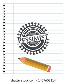 Pessimist emblem draw with pencil effect. Vector Illustration. Detailed.
