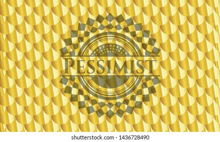 Pessimist gold emblem. Scales pattern. Vector Illustration. Detailed.