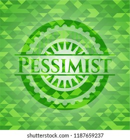 Pessimist green emblem. Mosaic background