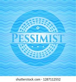 Pessimist light blue water emblem background.