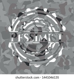 Pessimist on grey camo texture