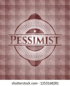 Pessimist red geometric badge. Seamless.