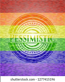 Pessimistic emblem on mosaic background with the colors of the LGBT flag