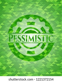 Pessimistic green emblem with mosaic background