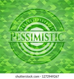 Pessimistic green emblem. Mosaic background