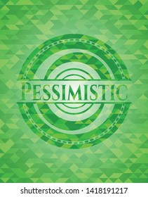 Pessimistic green emblem with mosaic ecological style background. Vector Illustration. Detailed.