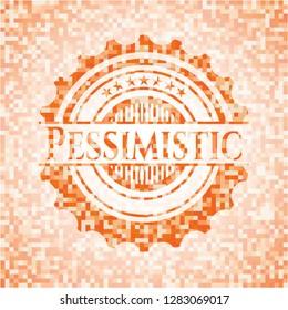 Pessimistic orange mosaic emblem with background