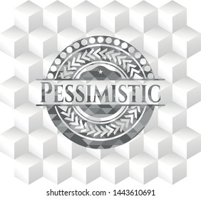 Pessimistic realistic grey emblem with geometric cube white background