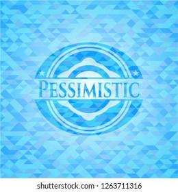 Pessimistic realistic sky blue mosaic emblem