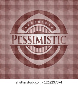 Pessimistic red seamless emblem with geometric pattern background.