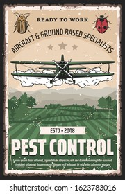 Pest control, agricultural field retro crop duster biplane. Vector aircraft and ground based specialists on bugs, airplane spraying pesticides and herbicides on plants. Farming and insects controlling