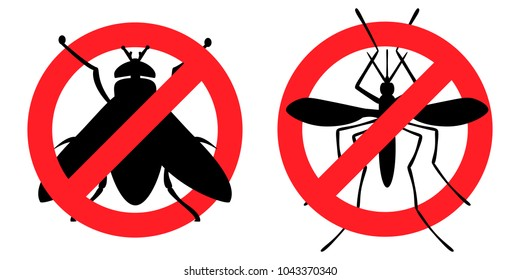 Pest Control, antifly, antimosquito (destruction of parasites, insects, fly, mosquito, insect, toxicity, prohibition, vector, black outline, white background)