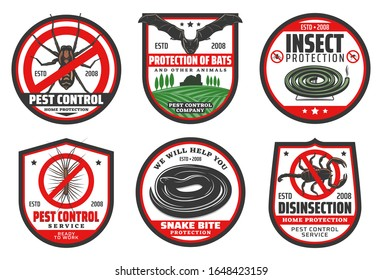 Pest control badges of desinsection and insect protection vector design. Mosquito, fly and flea, cockroach, ant and spider, bat, centipede and scorpion, snake and mosquito coil with red stop symbols