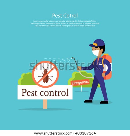 Pest Control Banner Design Flat Service Stock Vector (Royalty Free ...