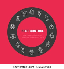 Pest control circle poster with flat line icons. Cockroach, rat, fly, mosquito, snake, louse, tick. Can be used as a design template for printing websites, posters.