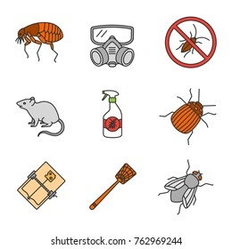 Pest control color icons set. Flea, respirator, cockroaches repellent, mouse trap, rodent, colorado beetle, housefly, fly-swatter. Isolated vector illustrations