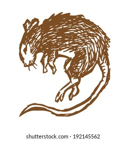 Pest Control Concept. Dead Mouse Vector Outline