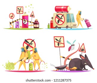 Pest control design concept with flat doodle style images of disinfectors fighting pests with decontamination facilities vector illustration