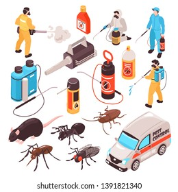 Pest control disinfection service isometric icons set with ant rat cockroach  professional exterminators team equipment vector illustration