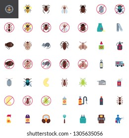Pest control elements collection, flat icons set, Colorful symbols pack contains - Ant insect, Mosquito spray bottle, Cockroach, Fly swatter, Rat trap, Gas mask. Vector illustration. Flat style design