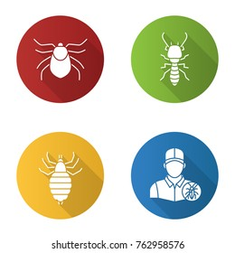 Pest control flat design long shadow glyph icons set. Mite, termite, louse, exterminator. Vector silhouette illustration