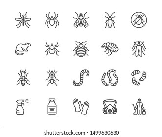 Pest control flat line icons set. Insects - mosquito, spider, fly, cockroach, rat, termite, spray vector illustrations. Outline signs for disinfection service. Pixel perfect. Editable Strokes.