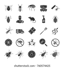 Pest control glyph icons set. Extermination. Harmful animals and insects. Silhouette symbols. Vector isolated illustration