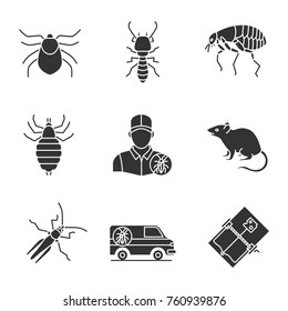 Pest control glyph icons set. Mouse trap, exterminator's car, louse, termite, mite, flea, grasshopper, rodent. Silhouette symbols. Vector isolated illustration