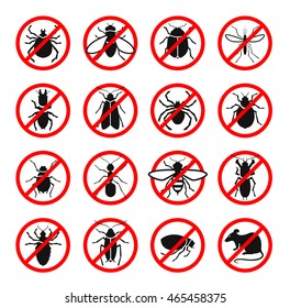 Pest control. Harmful insects and rodents set icons. Vector illustration