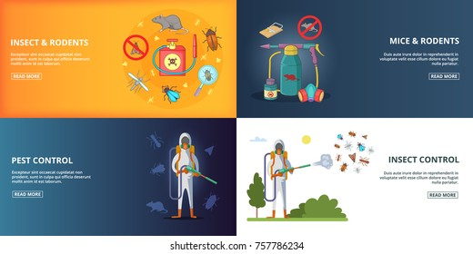 Pest control horizontal banners set cartoon vector illustration for any design
