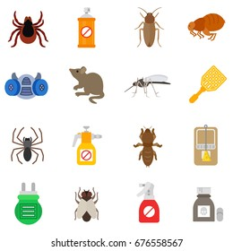 pest control icon set. extermination pests collection.insects and rodents.