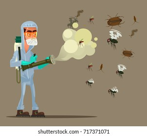 Pest control service man character trying killing insects. Vector flat cartoon illustration