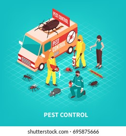Pest control service workers in uniform getting rid of different pests on blue background isometric vector illustration
