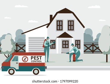 Pest control services staff working at house background, flat vector illustration. Exterminators of insects and rodents spraying toxic insecticide spray outside building
