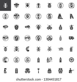 Pest control vector icons set, modern solid symbol collection, filled style pictogram pack. Signs, logo illustration. Set includes icons as Ant insect, Mosquito spray bottle, Cockroach, Fly swatter